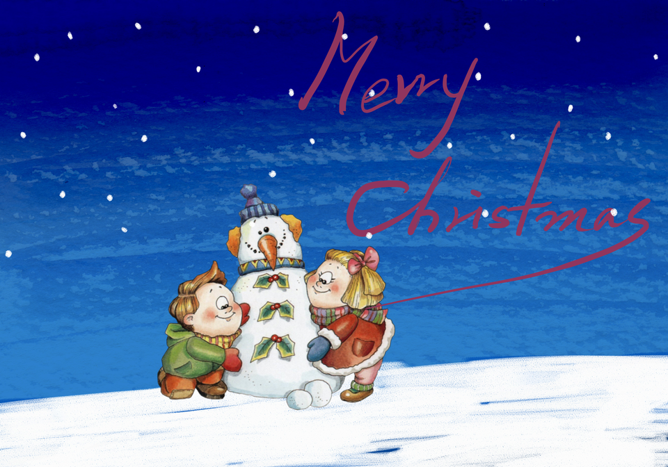Christmas Card-snowman and children