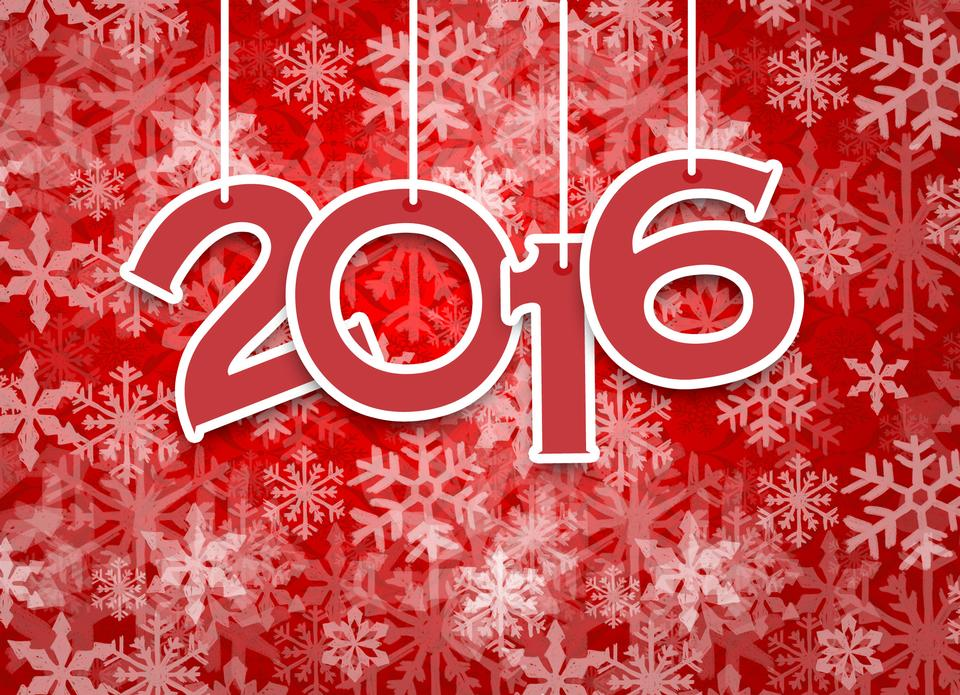 С Новым годом 2015 и 2016 Текст Дизайн-красный узор снег