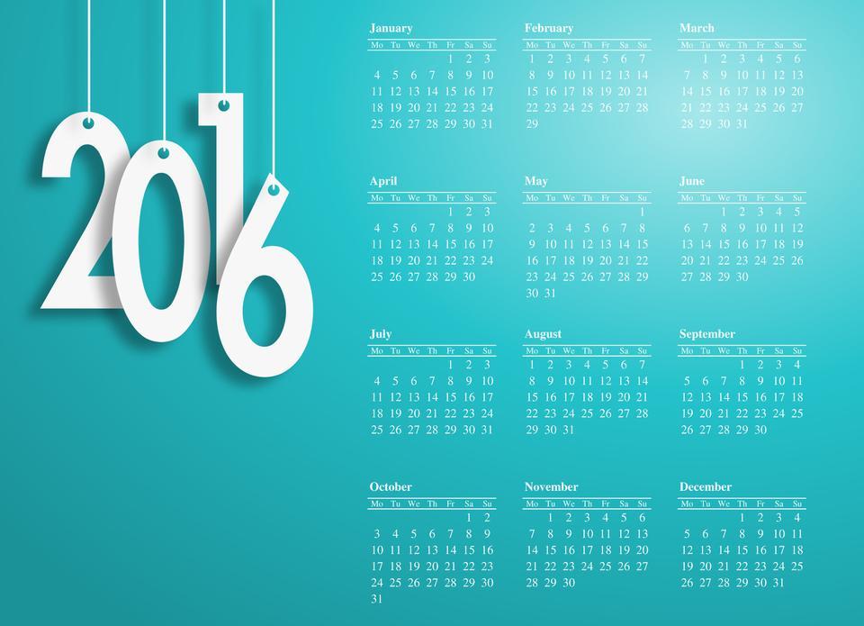 Happy new year 2016 design.-blue background white letter calenda