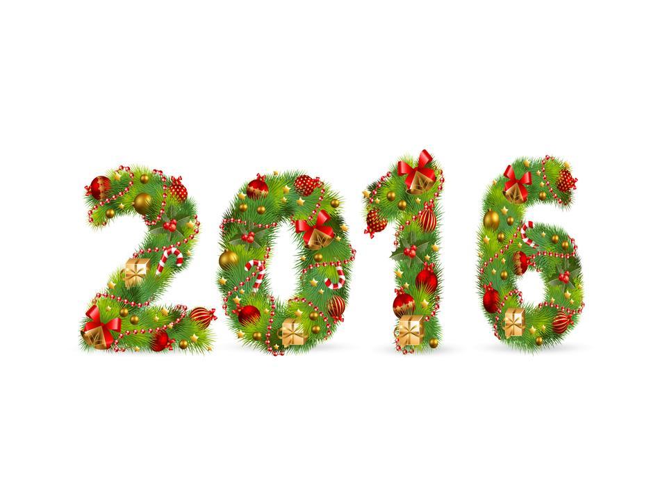 С Новым годом +2016 design.-белый