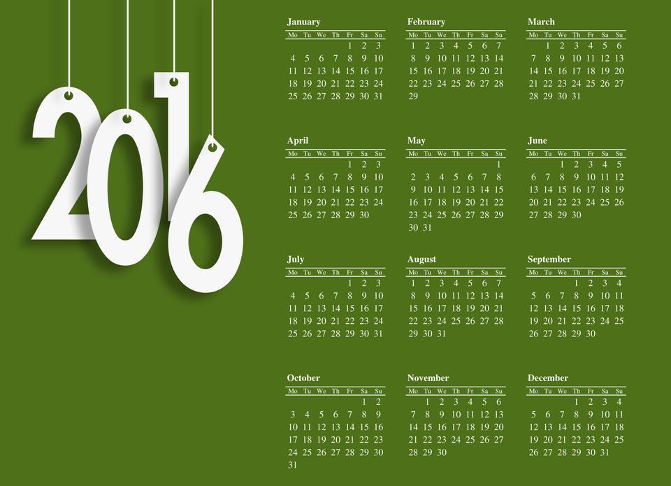 С Новым годом +2016 design.-зеленый фон белый письмо