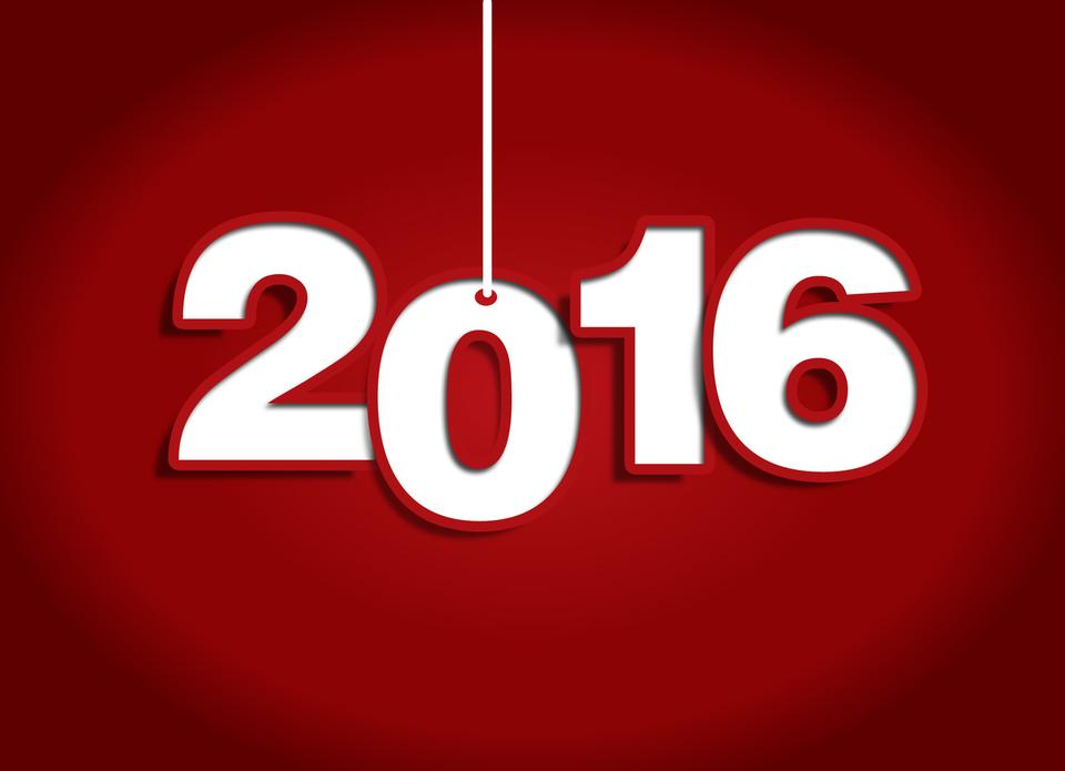 Happy new year 2015 and 2016 Text Design-red background