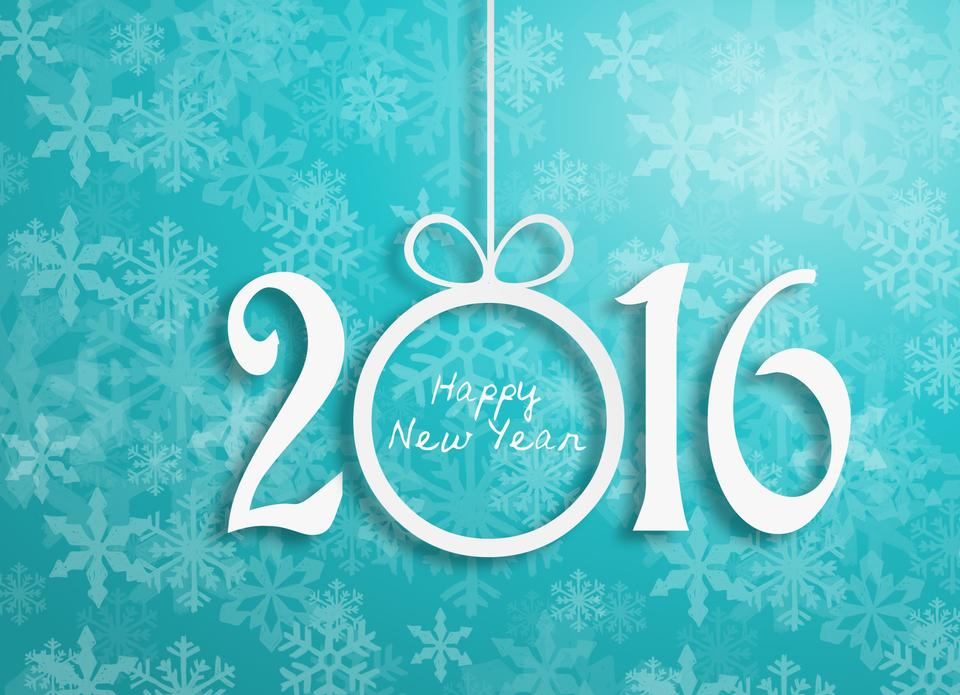 Happy new year 2016 design.-blue background white letter