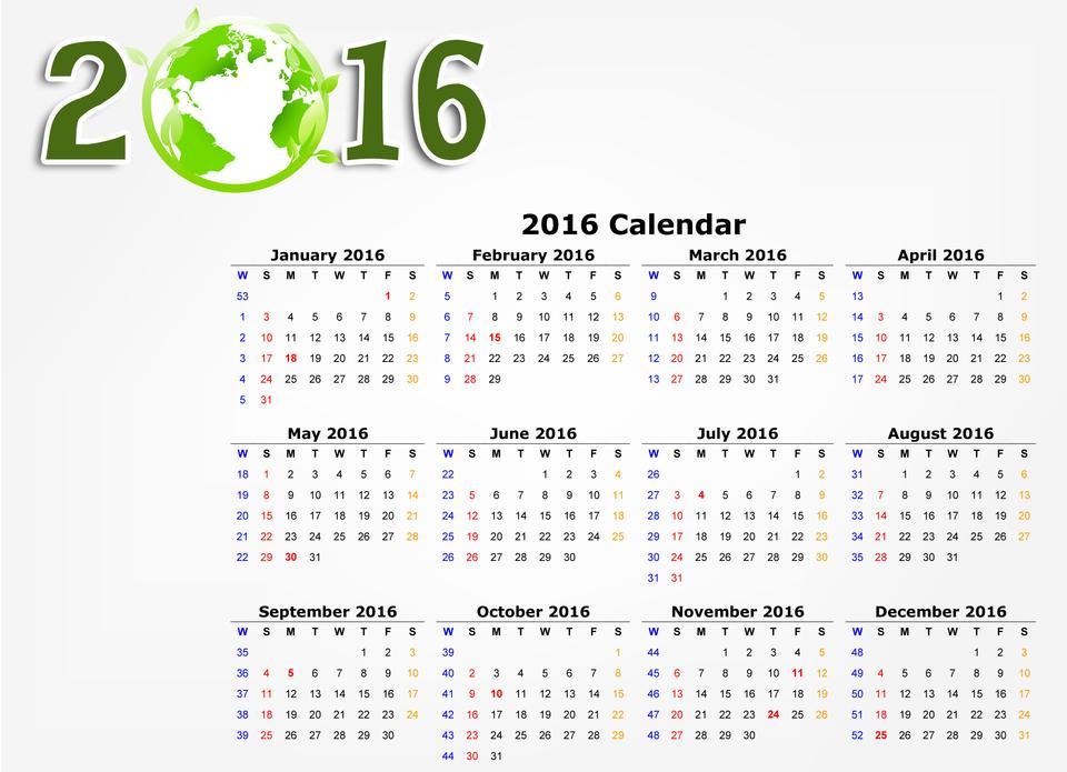 Calendar 2016 / 2016 calendar design eco green