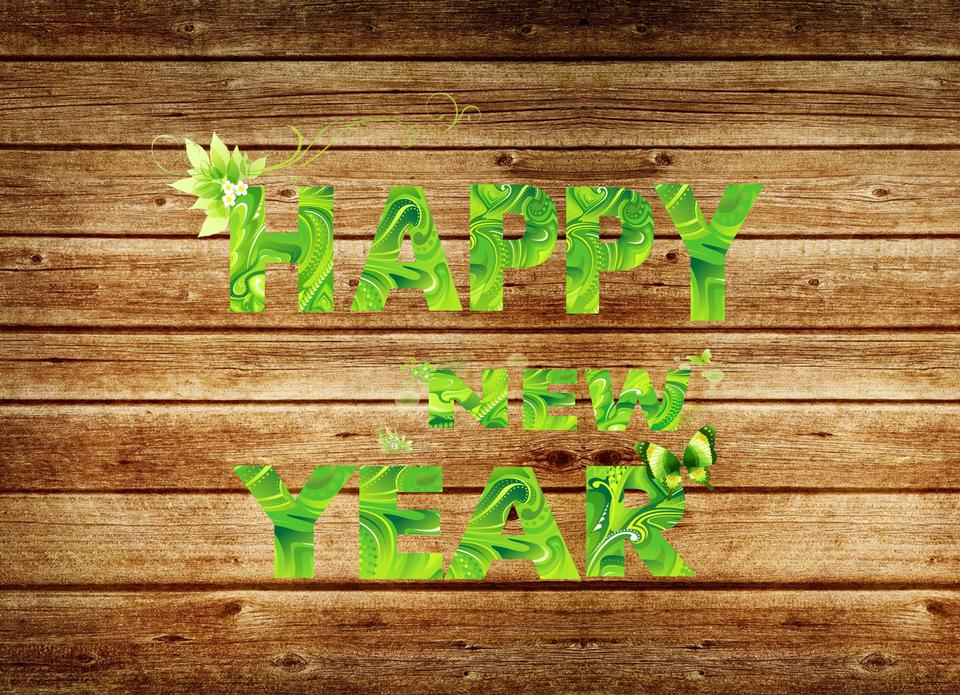 Happy New 2016 Year-wooden background