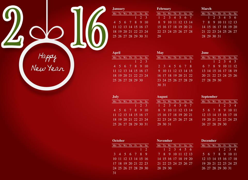Happy new year 2016.-red background white letter calenda