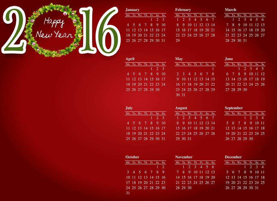 Happy new year 2016 design.-red background white letter calenda