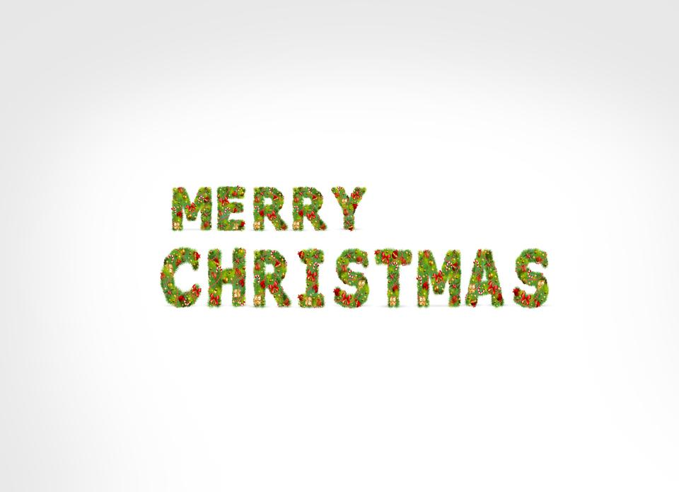 Merry Christmas inscription and white background