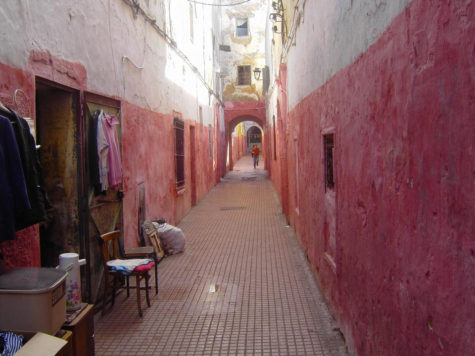 Colorful street of the Kasbah of the Udayas in Rabat, Morocco