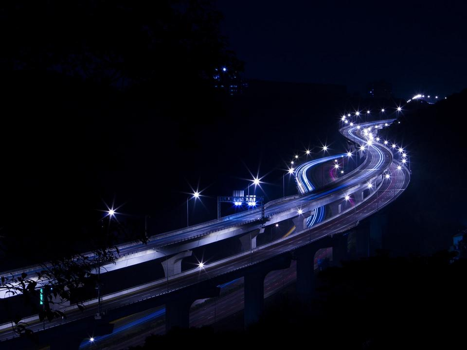 overpass highway night scene