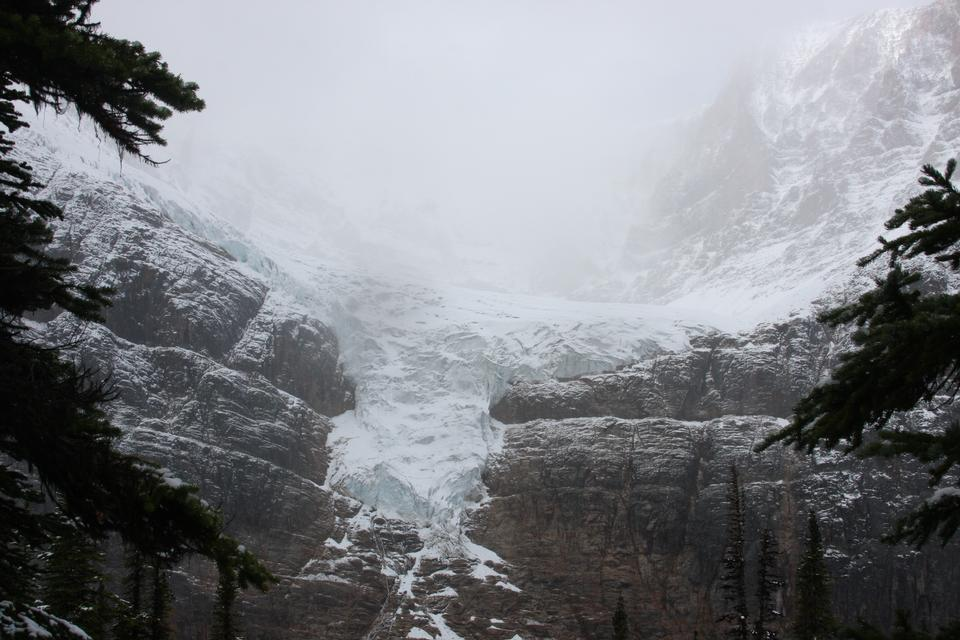 Vallée glaciaire à la base du mont Edith Cavell dans le parc Jasper