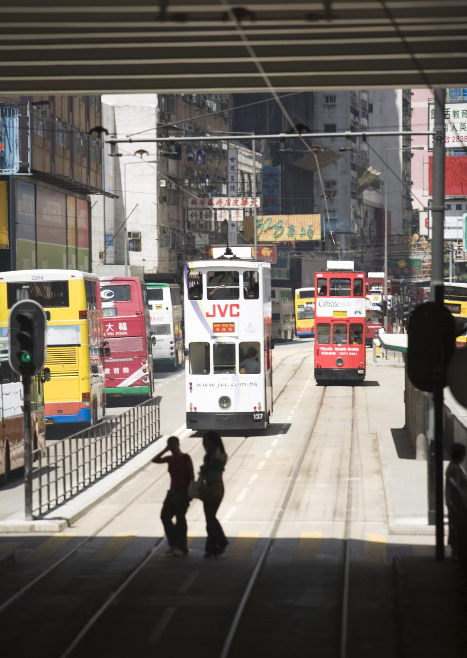 Double-decker trams in Hong Kong