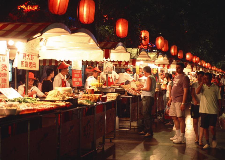 Food vendors at the Donghuamen Night Market