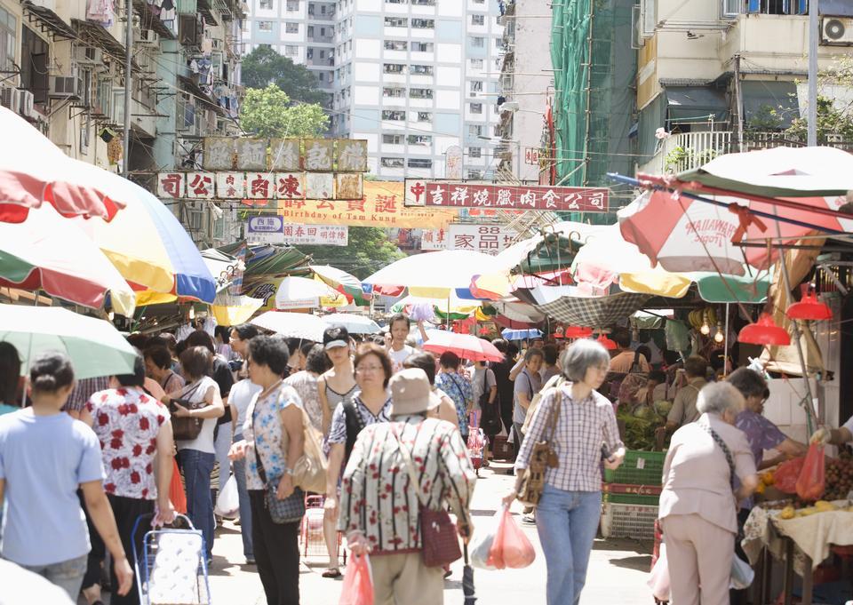 Unidentified people at Wing Lok Street