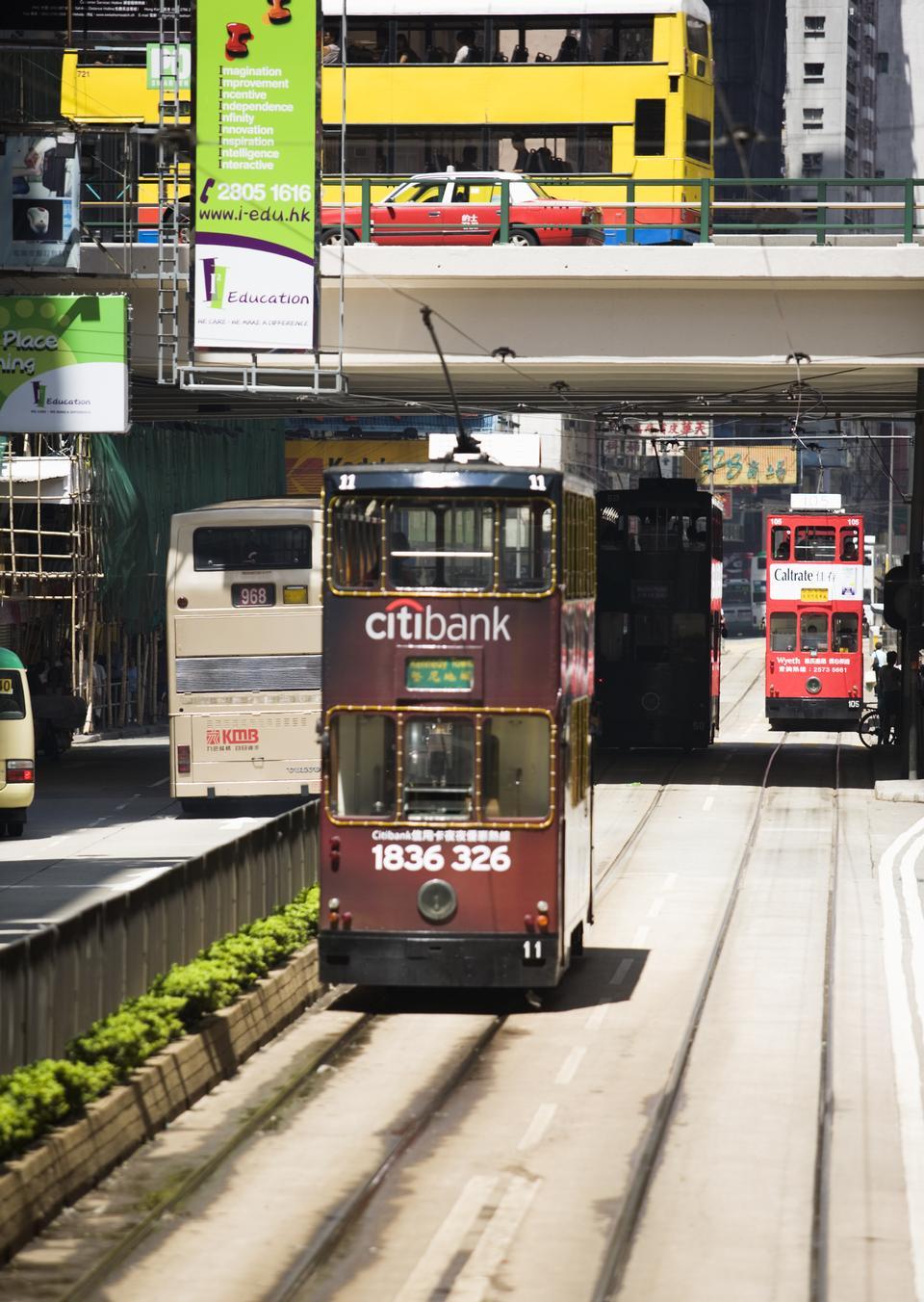 Double-decker trams in Hong Kong