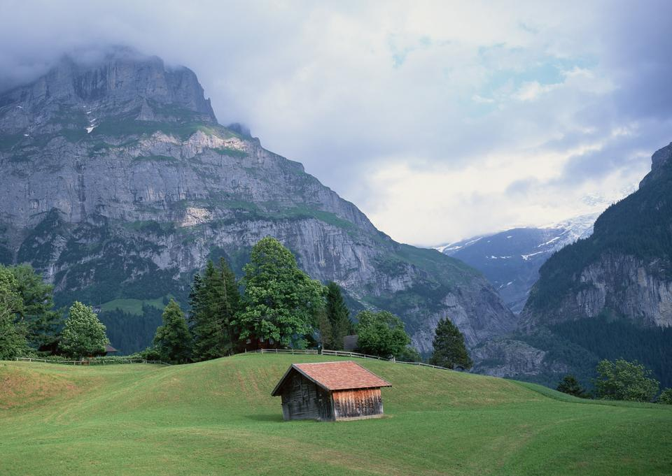 Alps mountains landscape with houses.