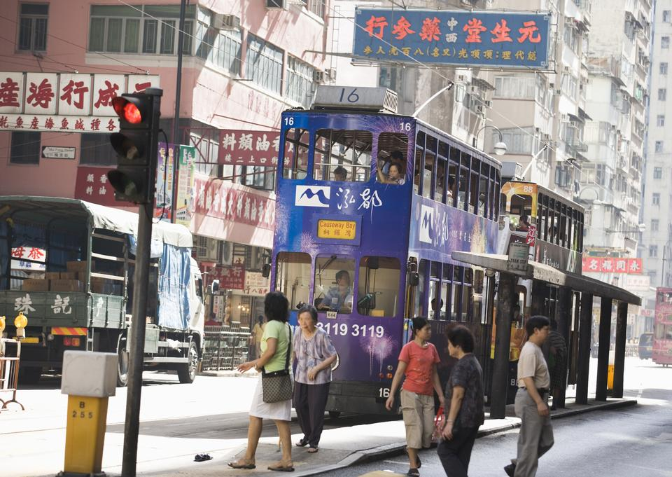 Double decker buses at the bus station downtown in Hong Kong