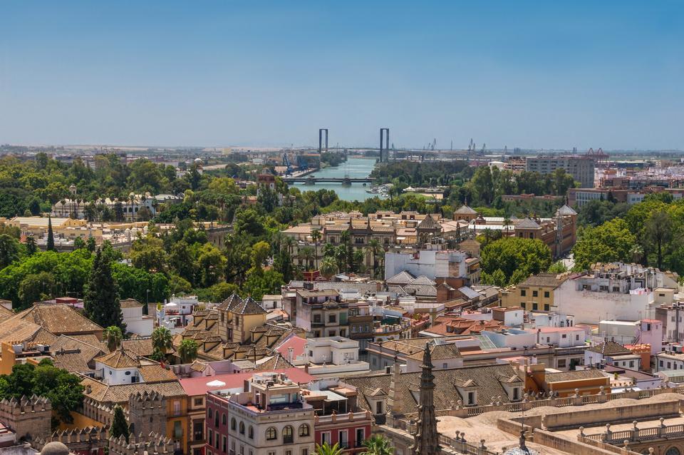 Roofs, Guadalquivir river, Delicias Bridge Seville, Spain