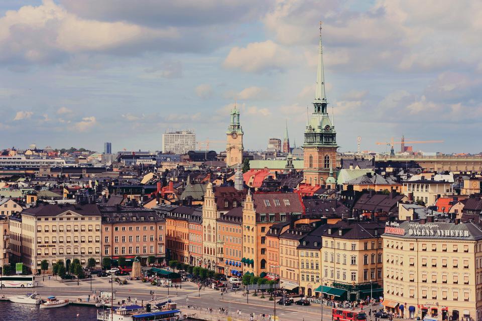 square near Riddarholmskyrkan in Stockholm, Sweden