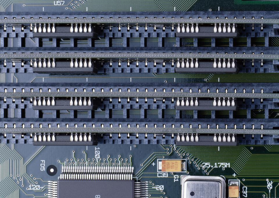 Memory Slots Close Up On Computer Motherboard