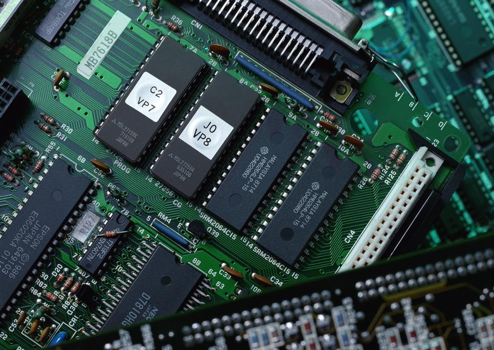 Chips on a green PCB