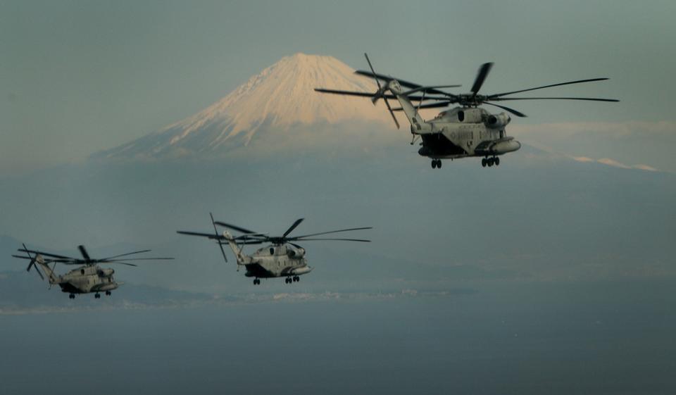 Three CH-53E Super Stallion Helicopters