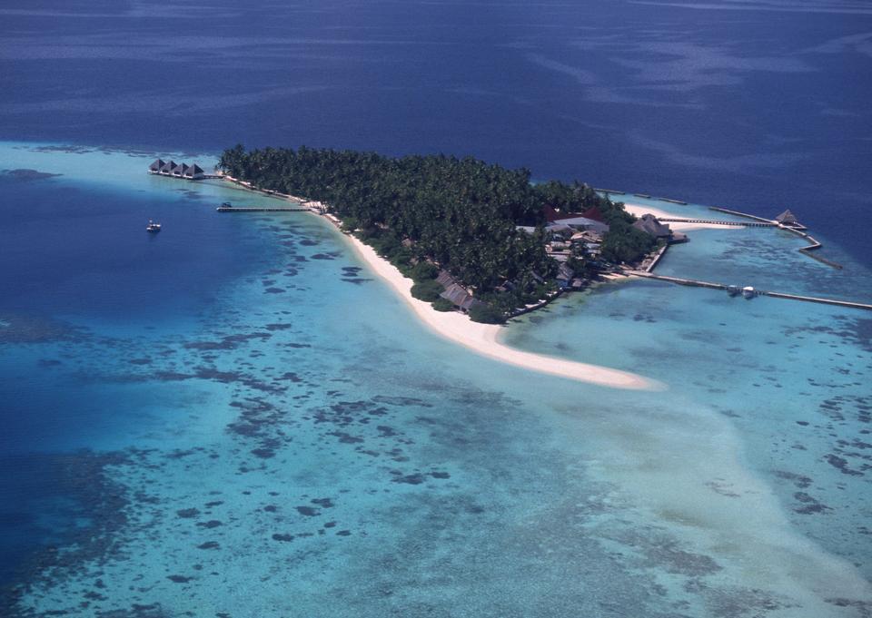 Aerial view of island, Maldives