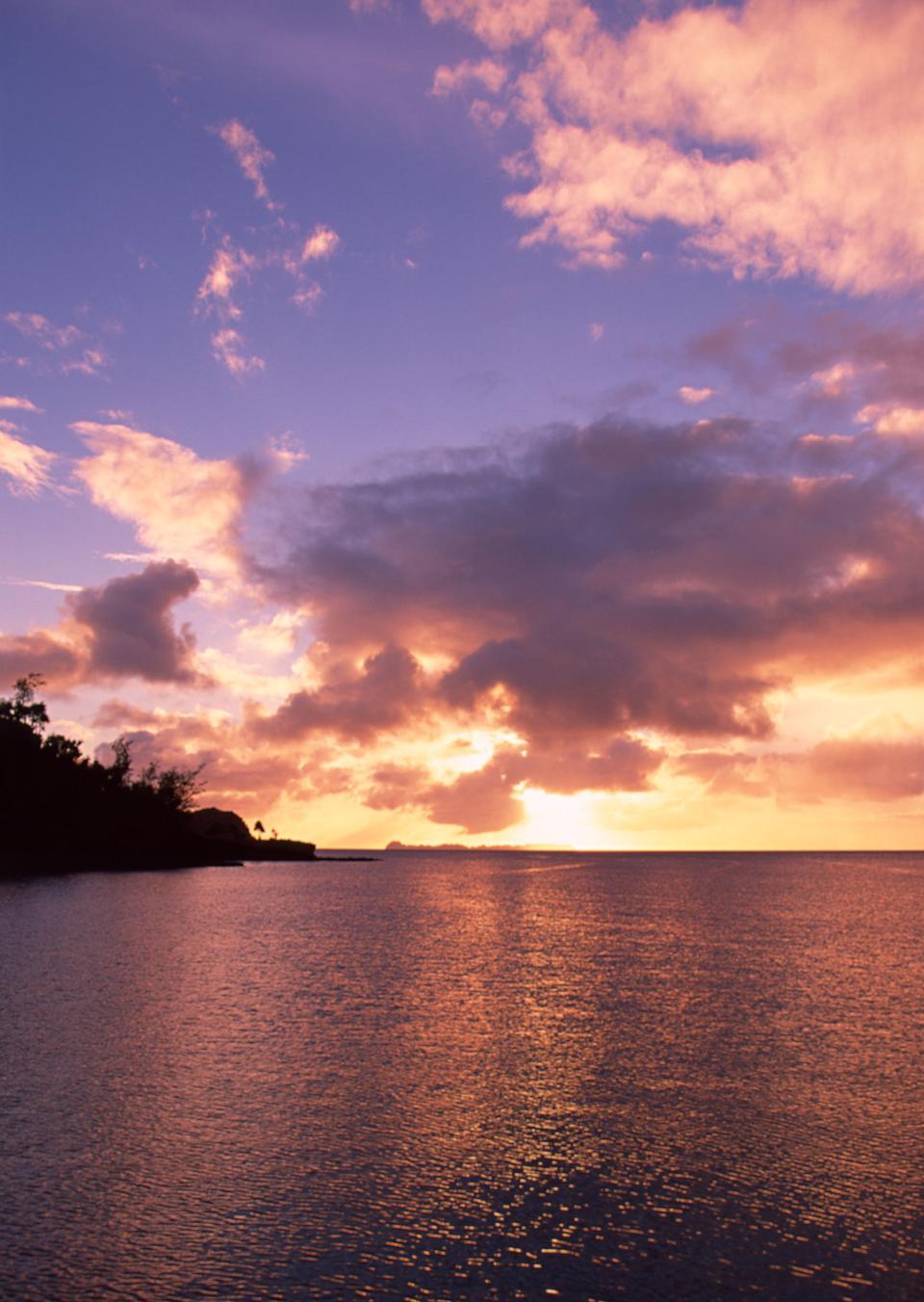 Brilliant ocean beach sunrise
