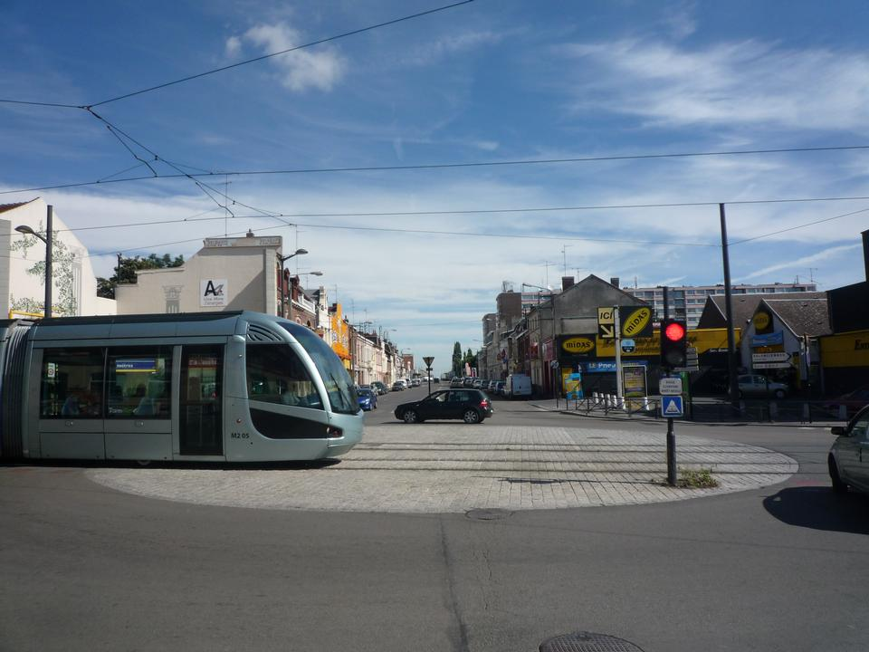 Modern tram in Valenciennes, France