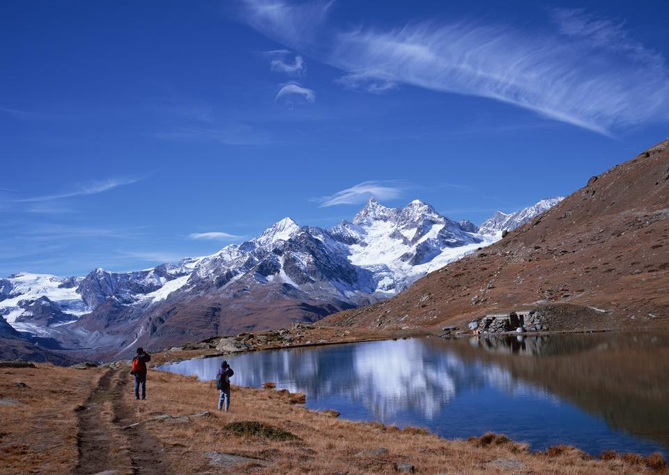 scenery of high mountain with lake and high peak