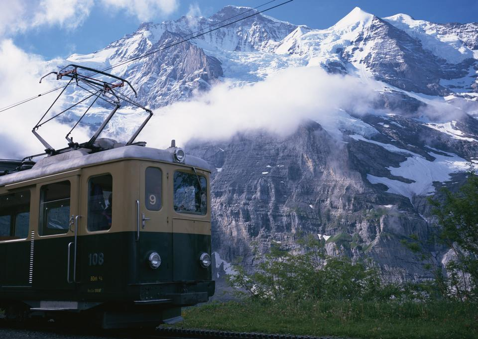 Train in Swiss Alps
