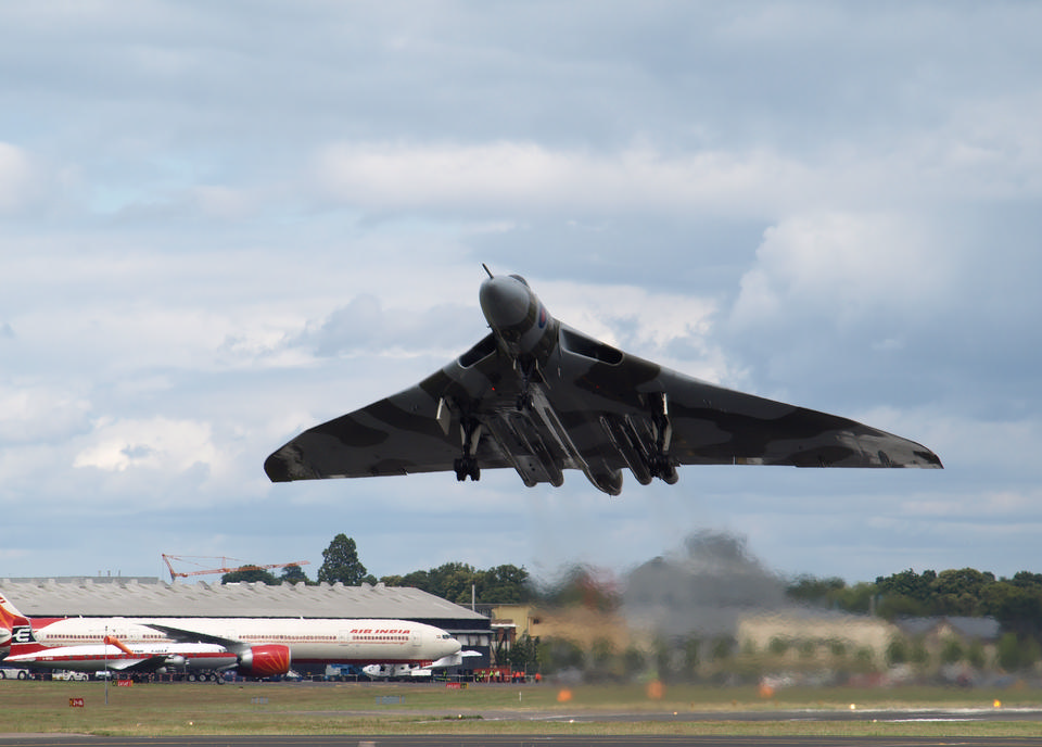 Vulcan despegar en el Farnborough