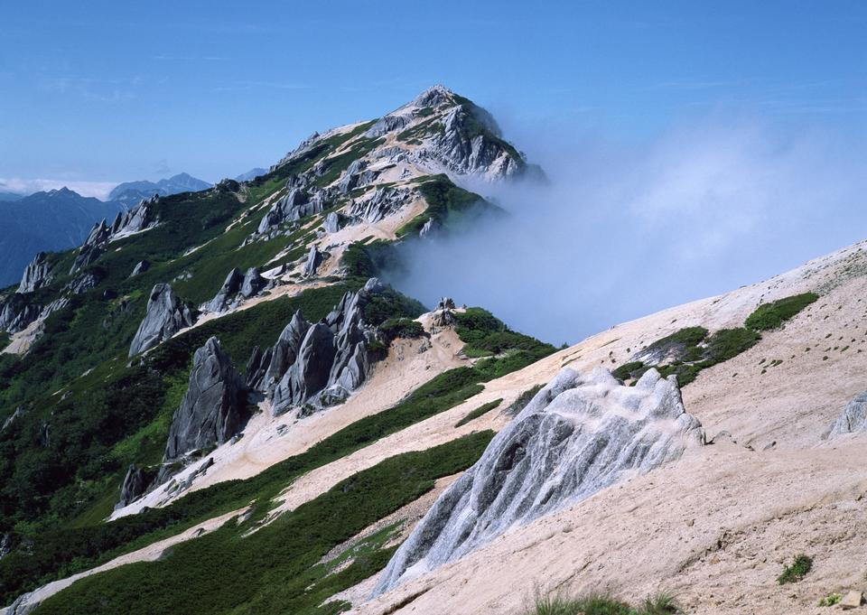 Steep mountain slope with frozen rocks