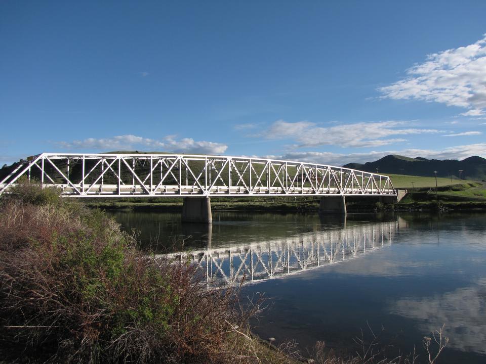 the river on steel bridge