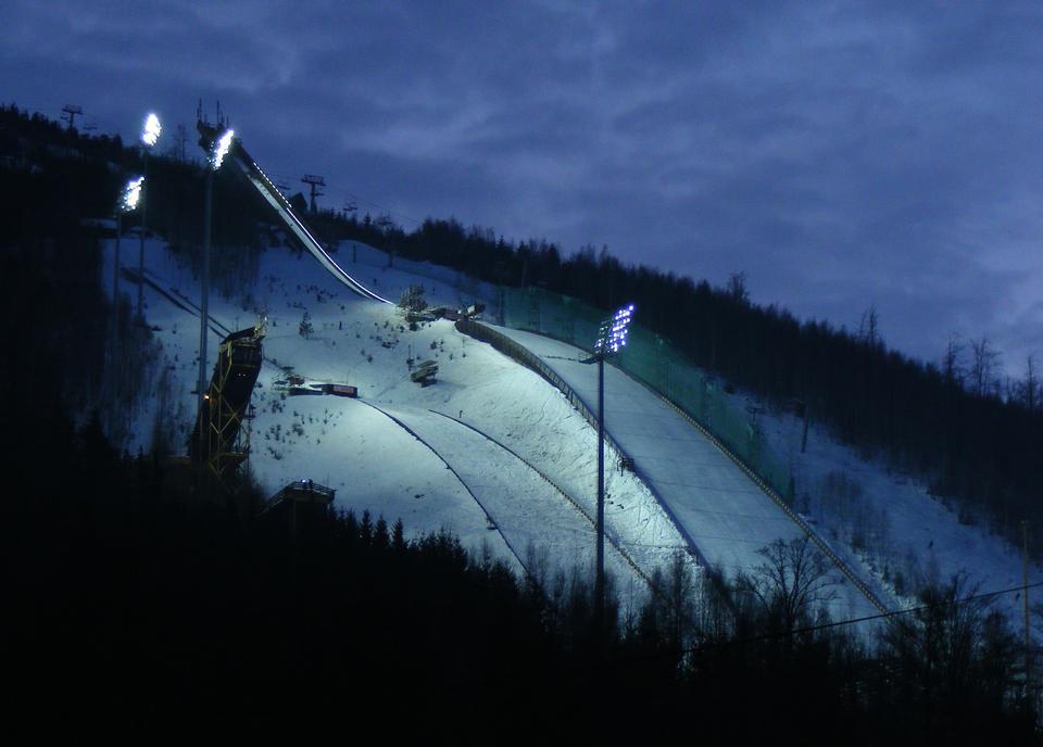 Ski lifts at night