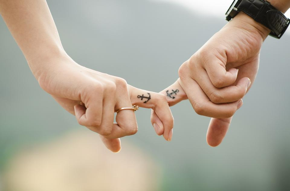 Romantic lovers dating. Male and female hands