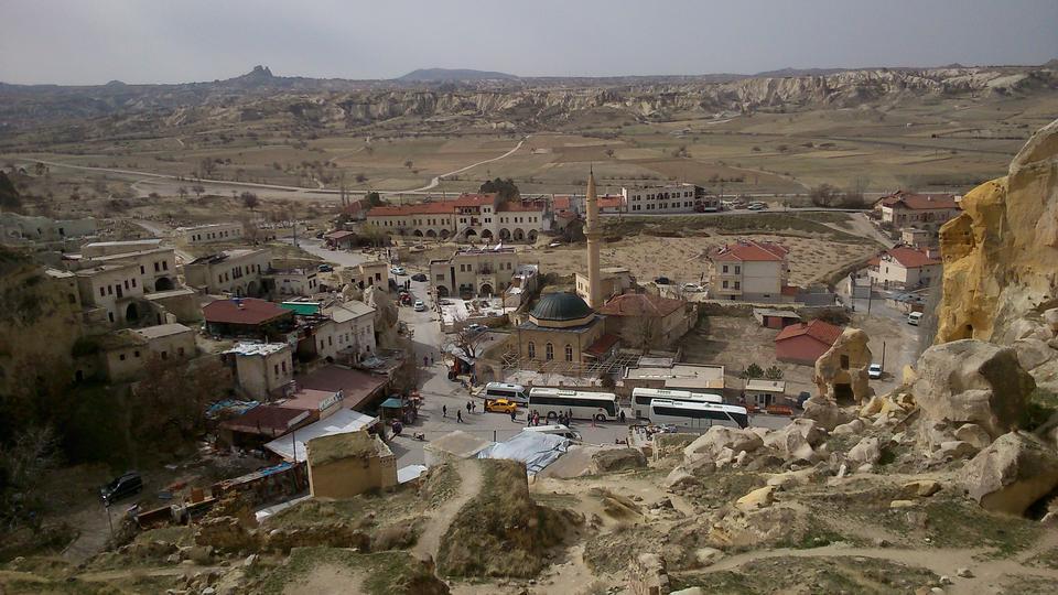 Abandoned cave houses in Cavusin town, Cappadocia, Turkey