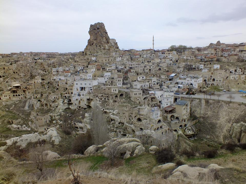 Turkish fortress Uchisar, landscape in Cappadocia, Turkey
