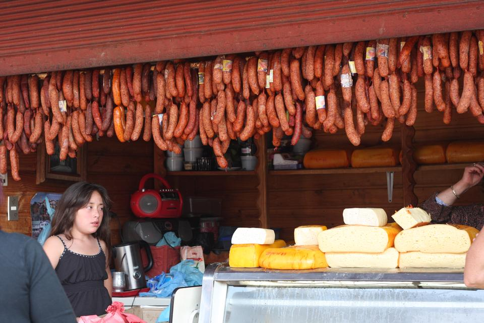meat salami sausage at street market Puerto Montt in Chile