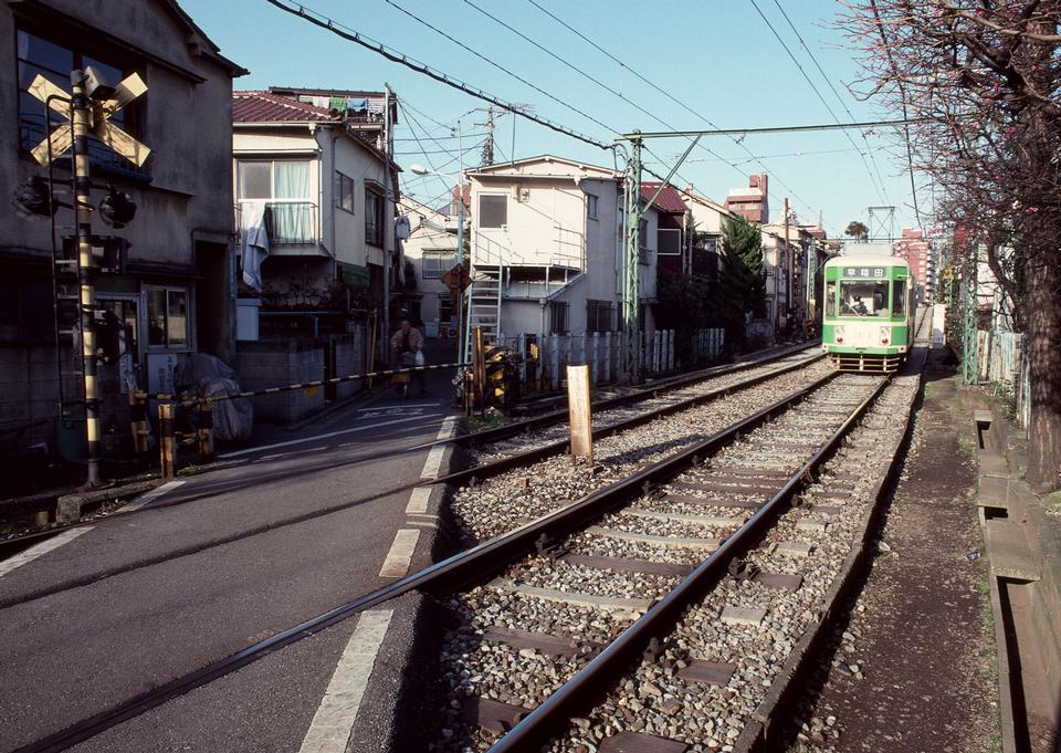 Tramcar passing through downtown of Tokyo