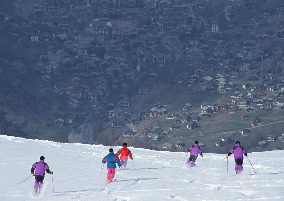 Skiers at mountains