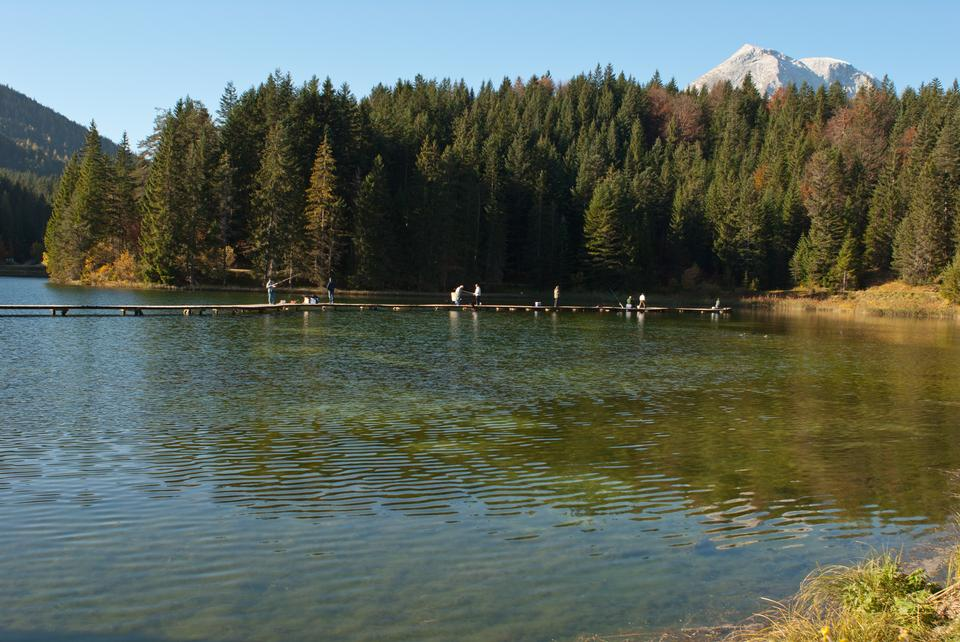 fishing in autumn on a lake