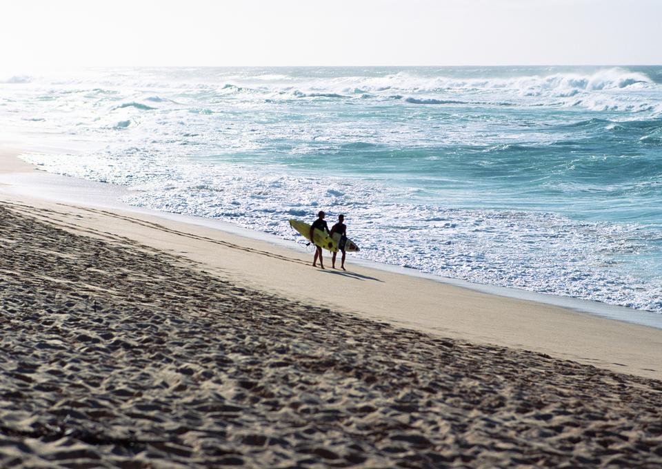 Los amantes de los pares que recorren en la playa