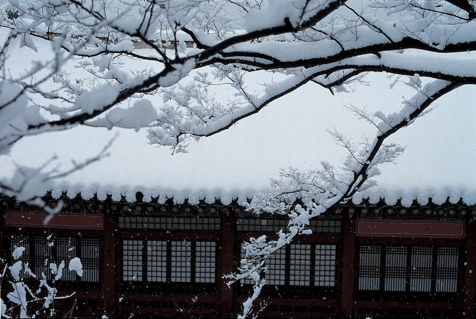 Temple in Korea during snowfall