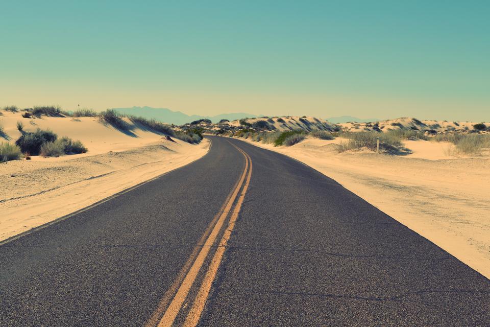 desert road and deep blue sky