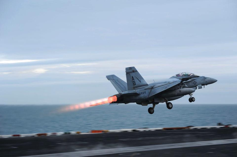 An F/A-18F Super Hornet landing