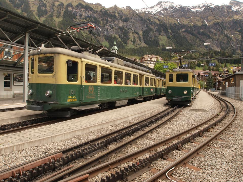 Jungfrau Bahn in Grindelwald Village Railwaystation, Switzerland
