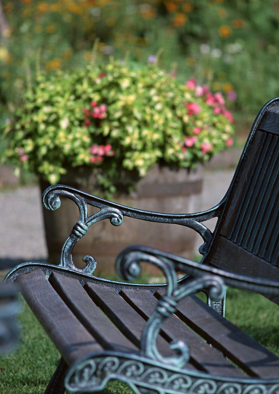 Bench near flower pot