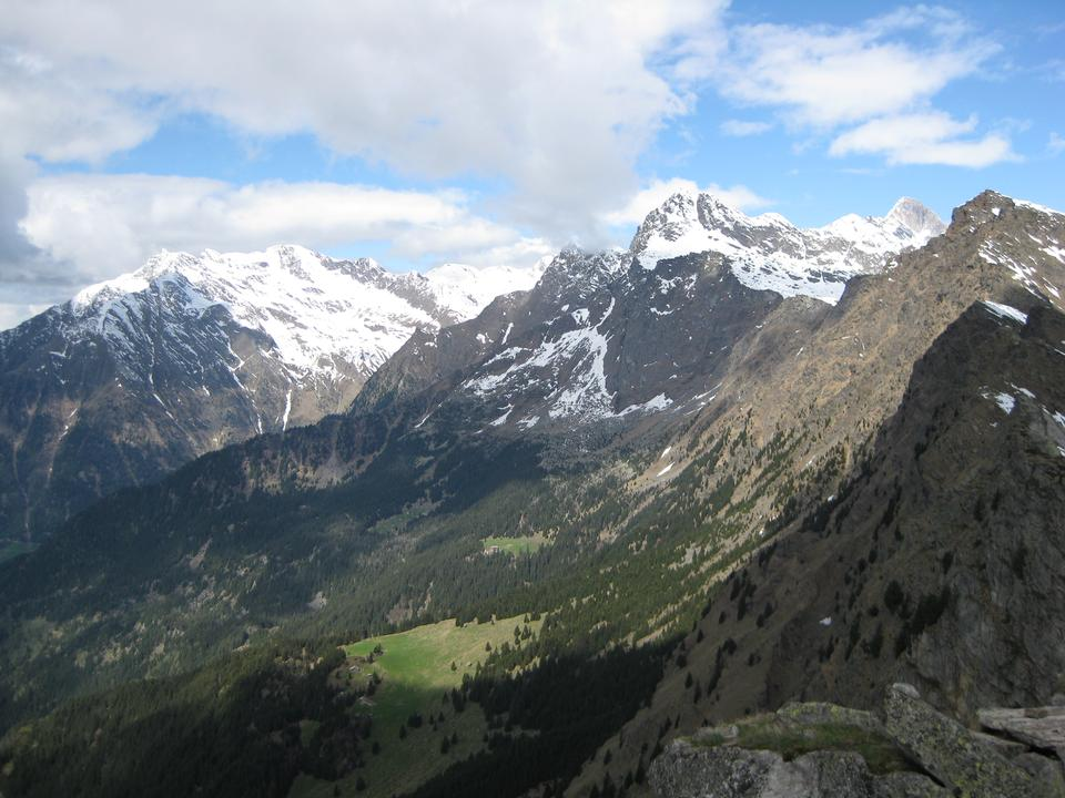 snow peaks in Caucasus mountains in spring