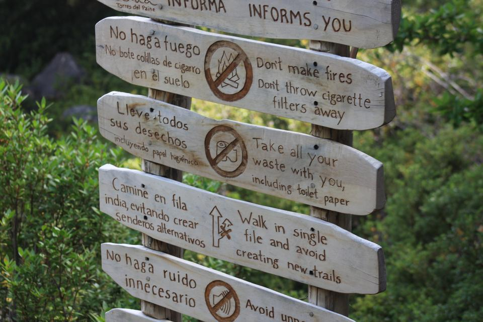 Sign showing the directions and hiking trails